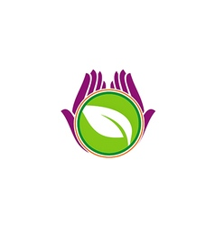 Green leaf hand vegetarian beauty logo vector