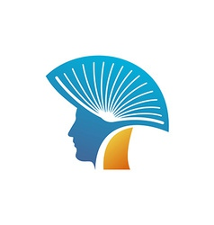 Head of the man with open book as a mohawk logo vector
