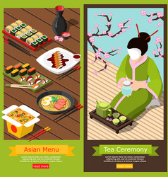 isometric sushi bar banners vector image vector image