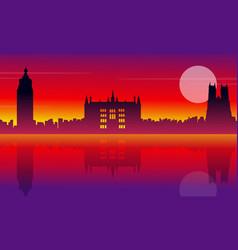 london city building silhouette style landscape vector image