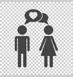 Man and woman with heart icon on isolated vector