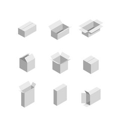 Packaging box isometric set images vector