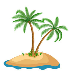 palm tree in island on isolated background vector image vector image