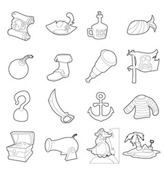 Pirate culture symbols icons set outline style vector