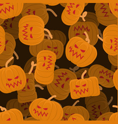 pumpkin seamless pattern 3d halloween background vector image