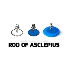 Rod of Asclepius icon in different style vector image