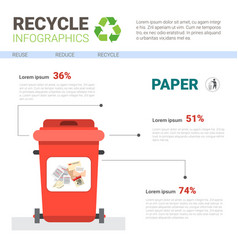 Rubbish container for paper waste infographic vector