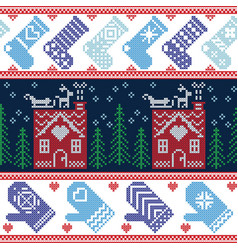 Scandinavian nordic christmas seamless pattern wit vector