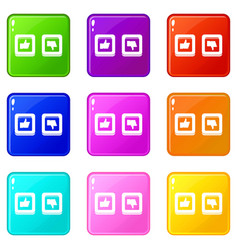 Signs hand up and down in squares icons 9 set vector