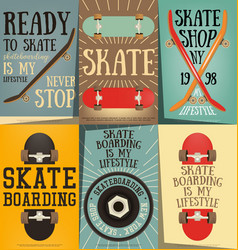 Skateboard posters set vector