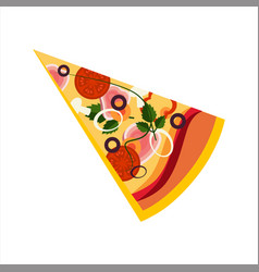 slice of pizza with ham and tomatos street fast vector image