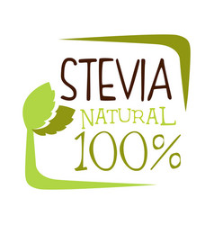 Stevia natural logo healthy product label vector