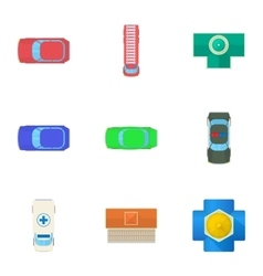 Top view of transport icons set cartoon style vector