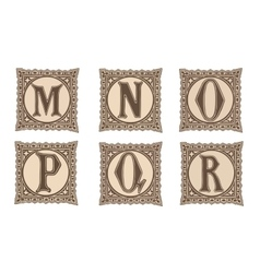 Vintage set capital letters floral monograms and vector