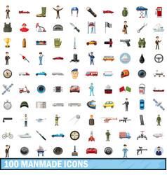 100 manmade icons set cartoon style vector