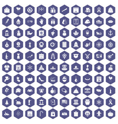 100 national holiday icons hexagon purple vector