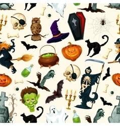 Halloween party symbols pattern vector image