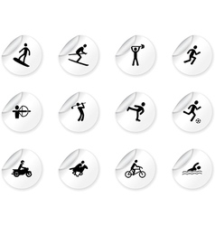 Stickers with games and sport icons vector