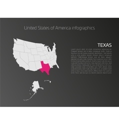Usa map infographics template with highlighted vector