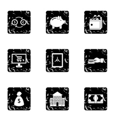 Funding icons set grunge style vector