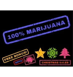100 percent marijuana rubber stamp vector