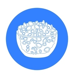 Cottage cheese in the bowl icon in black style vector
