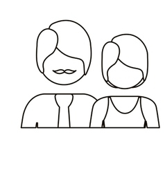 Monochrome contour with half body couple without vector