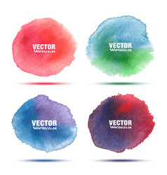 set of bright colorful watercolor circle stains vector image