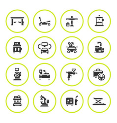 Set round icons of car service equipment vector