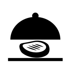 Tray server with meat isolated icon vector