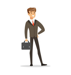 Smiling successful businessman with briefcase vector