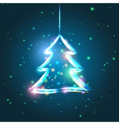 Glowing Christmas tree vector image