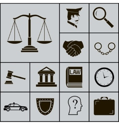 Law justice police icons and symbols silhouette on vector