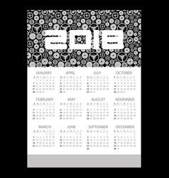 2018 simple business wall calendar with clock vector image vector image