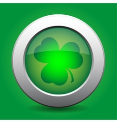 Metal button with the green shamrock vector