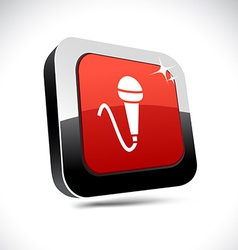 Mic 3d square button vector