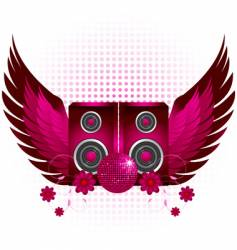 Speakers and wings vector