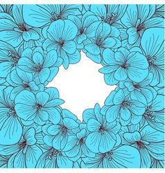 blue geranium flowers round frame vector image
