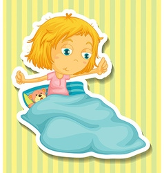 Little girl in bed waking up vector