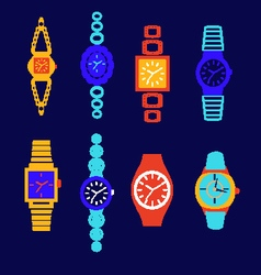 Collection of fashion watch vector