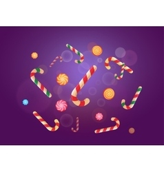 Set of christmas candy stickers on the violet vector
