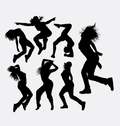 Woman dancing freestyle silhouette vector