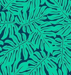 Monstera tropical leaf in a seamless pattern vector