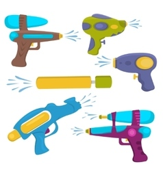 Plastic water gun isolated set vector