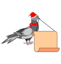 A christmas dove with a big blank paper in his bea vector