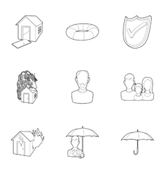 Accident icons set outline style vector