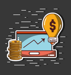 Arrow up to financial business with coins and bulb vector