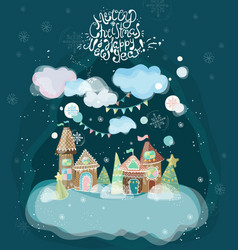 beautiful holiday with gingerbread houses vector image