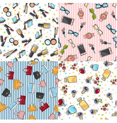 Big set of fashion objects seamless pattern vector