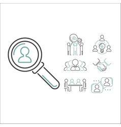 Business teamwork outline icons vector image vector image